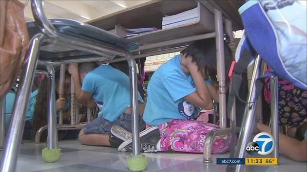 School children participate in the Great California Shakeout on Thursday, Oct. 20, 2016.