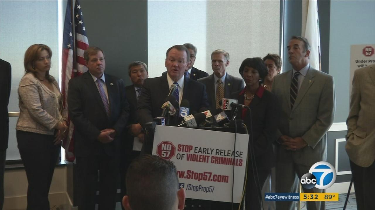 L.A. County Sheriff Jim McDonnell and other prominent city and law enforcement leaders spoke out against Prop. 57 on Thursday, Oct. 20, 2016.