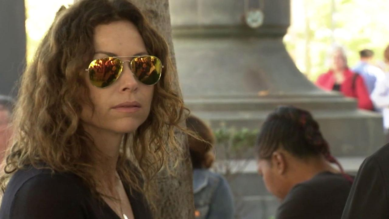 Actress Minnie Driver is shown outside of a Los Angeles courthouse during the Great California Shakeout interrupted her trial on Thursday, Oct. 20, 2016.