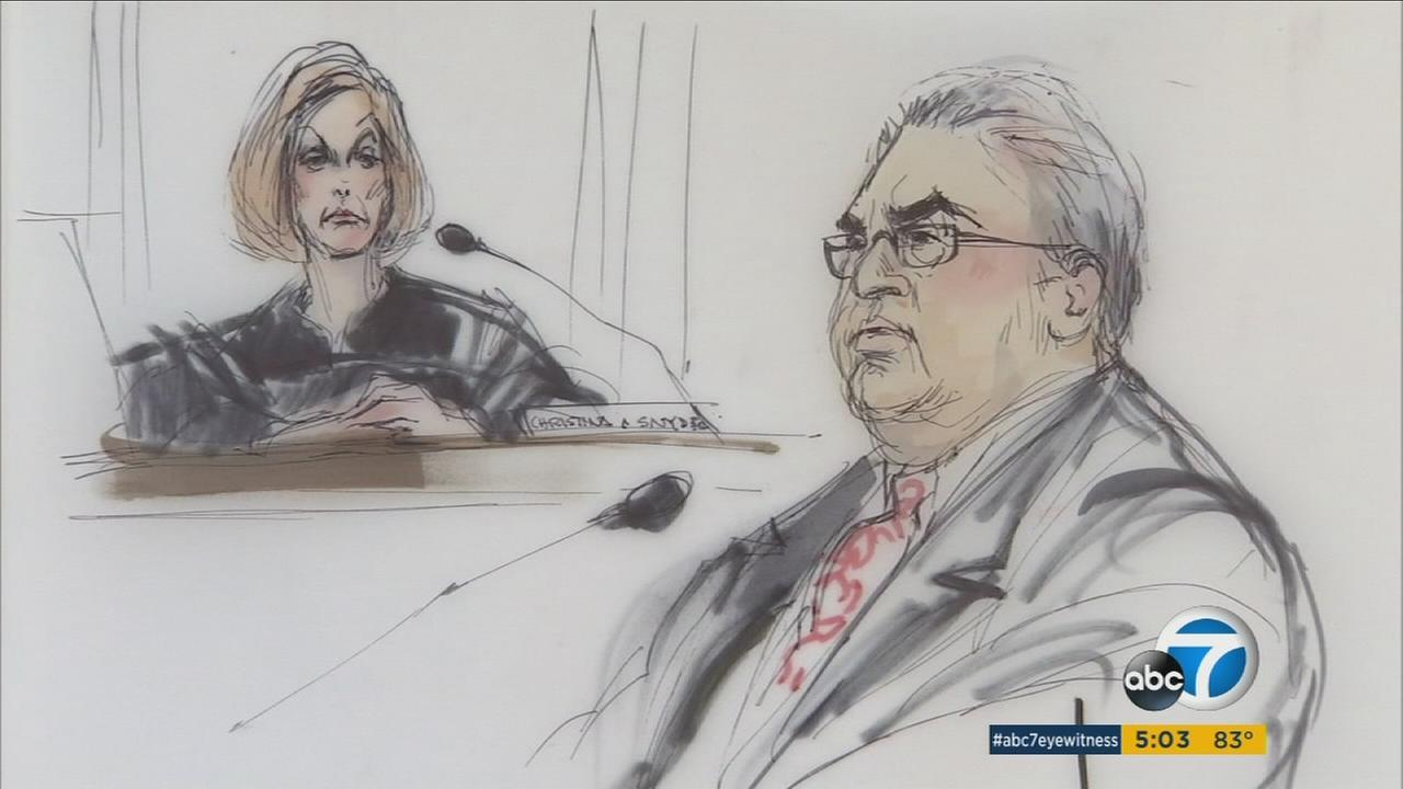 Courtroom sketches show Ron Calderon during his sentencing on Friday, Oct. 21, 2016.