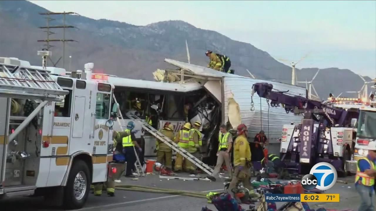 Thirteen people were killed and 31 others injured Sunday morning when a tour bus slammed into the back of a semi-truck on the 10 Freeway north of Palm Springs, a California Highway Patrol spokesman said.