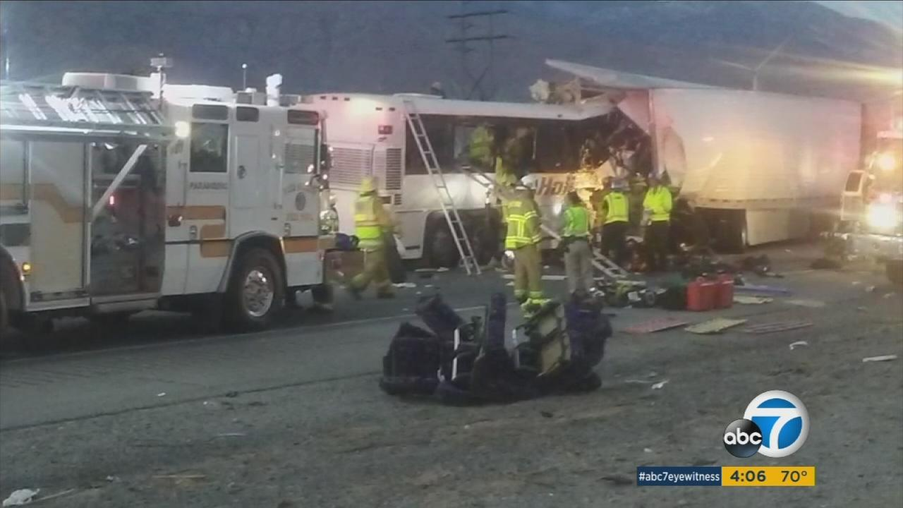 The National Transportation Safety Board and California Highway Patrol are trying to determine what caused a tour bus crash near Palm Springs that killed 13 people and injured 31.