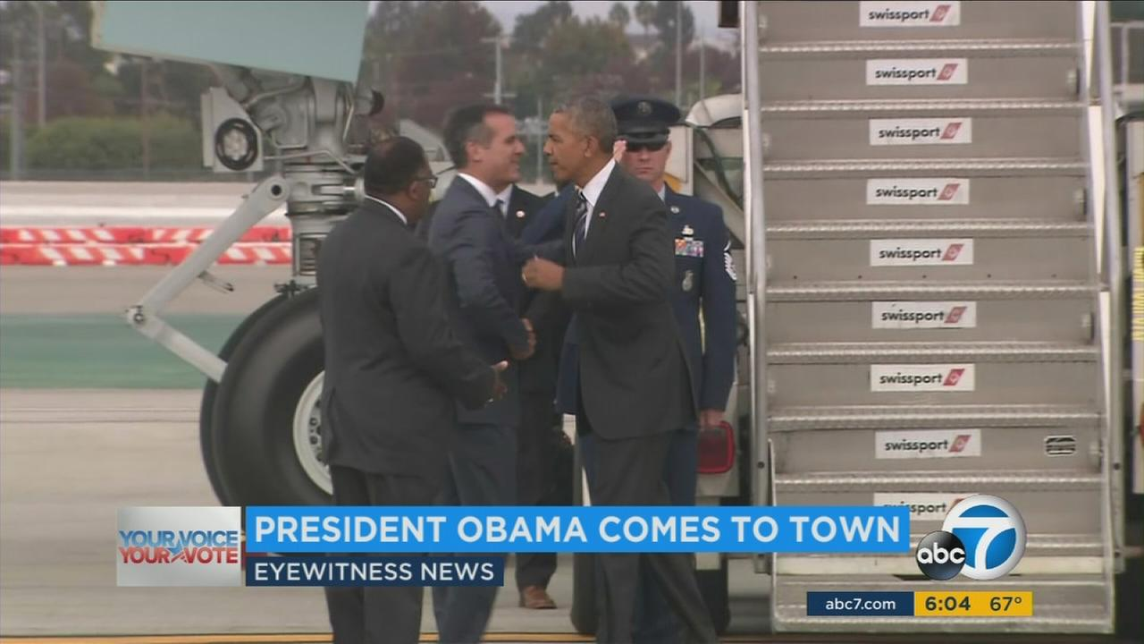 President Barack Obama is in Southern California for an appearance on Jimmy Kimmel Live! and a pair of Democratic fundraisers, and hes being accompanied by traffic jams and protesters.