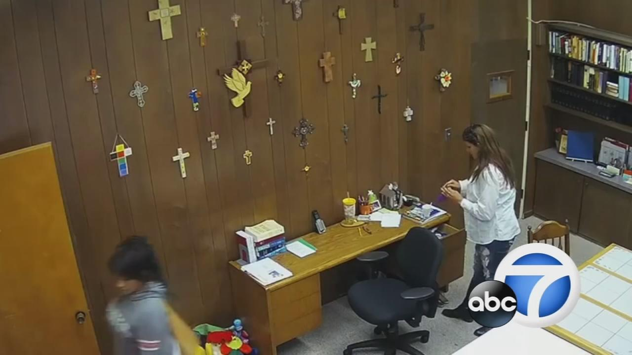 Two women were caught on camera at Faith Lutheran Church of Anaheim stealing from the pastor during service on Sunday, Oct. 23, 2016, according to church members.