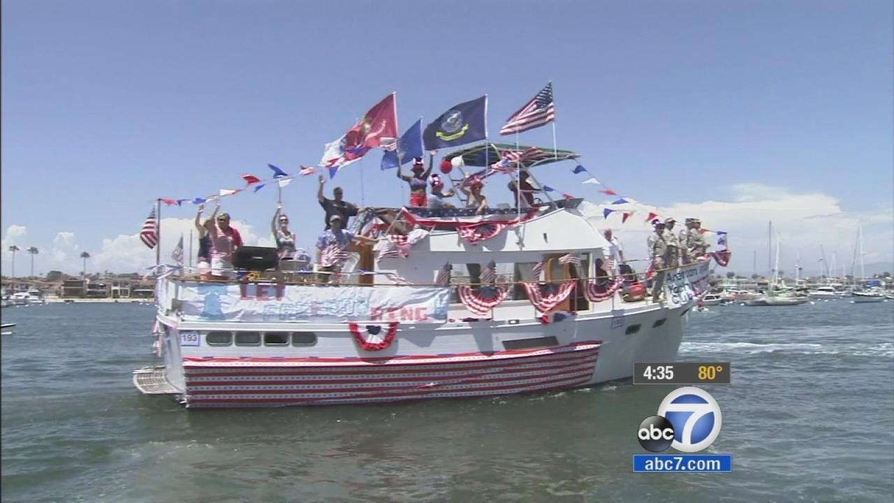 One of the entries in Newport Beachs boat parade on Friday, July 4, 2014.
