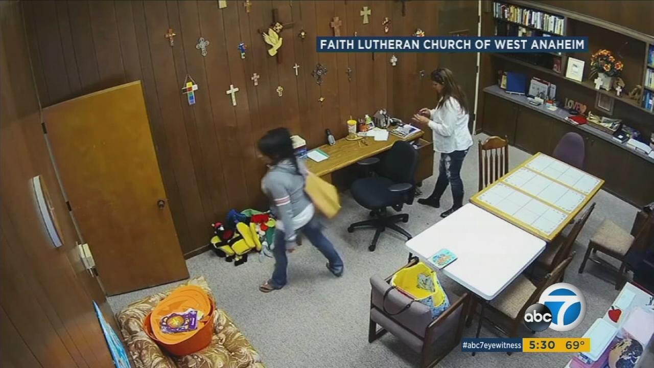 Two women were caught on video stealing from an Anaheim church during Sunday service, taking the pastors cellphones with irreplaceable personal photos.