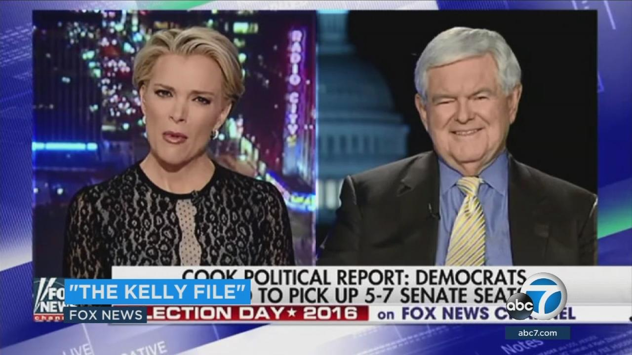 House Speaker Newt Gingrich and Fox News host Megyn Kelly are seen on Kellys program on Tuesday, Oct. 25, 2016.