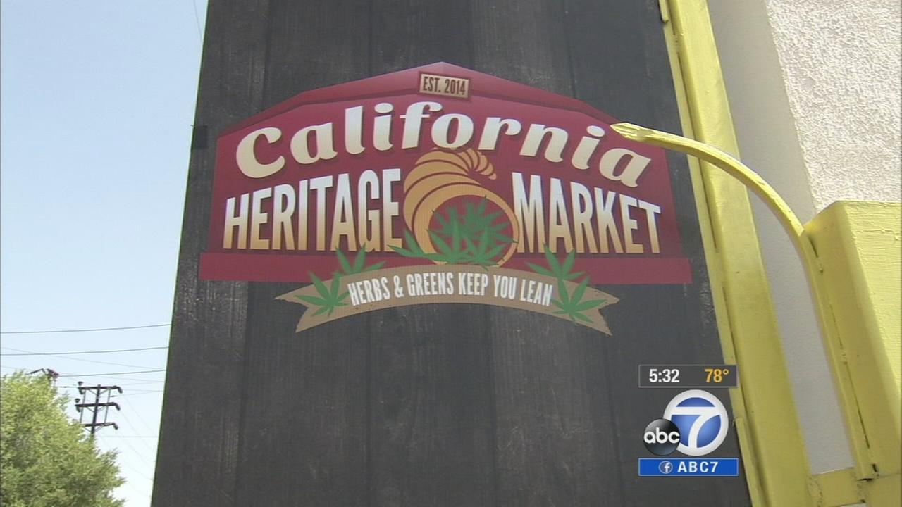 A sign for Los Angeles first farmers market for medical marijuana is shown on Friday, July 4, 2014.
