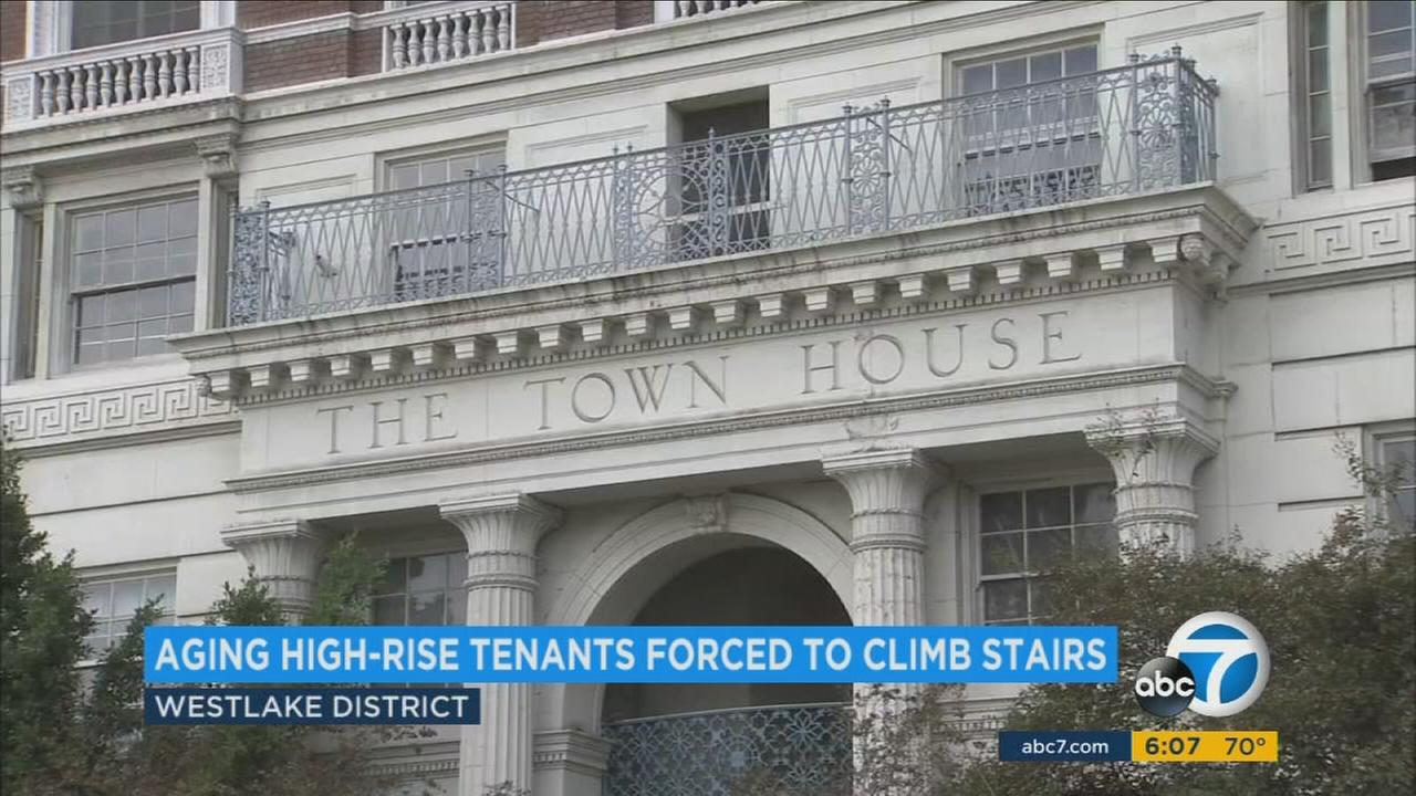 For more than two weeks, broken elevators at an historic high-rise in the heart of Los Angeles have forced aging residents, some disabled or using canes, to climb up to 14 stories.