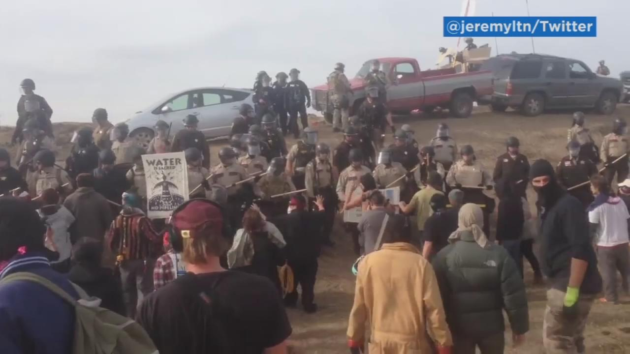 Authorities dressed in riot gear began arresting protesters of the Dakota Access oil pipeline in North Dakota on Thursday, Oct. 27, 2016.