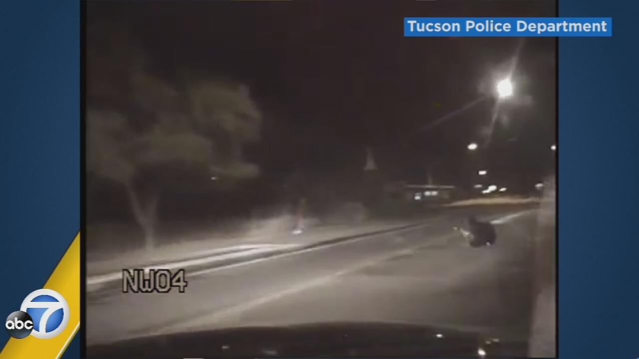 A dramatic shootout between police in Arizona and a suspect was captured on dashcam video on Monday, Oct. 24, 2016.