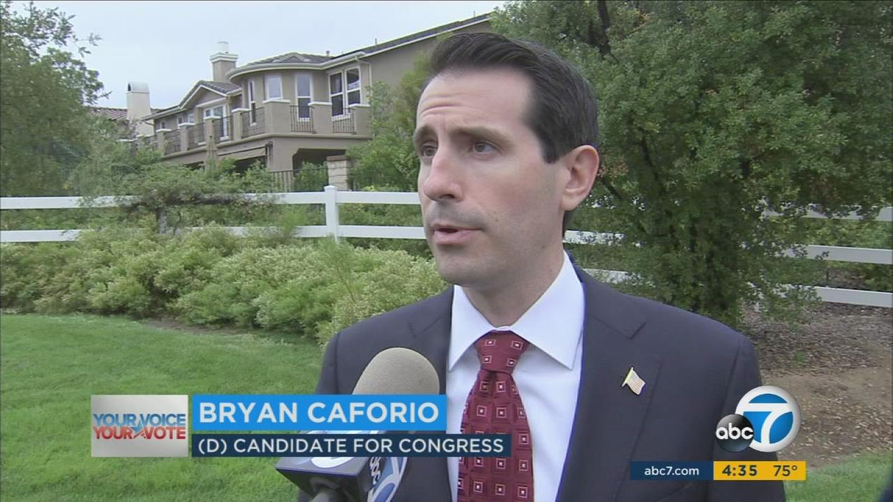 Congressional hopeful Bryan Caforio held a press conference slamming Rep. Steve Knight, during a Republican fundraiser for Knight.