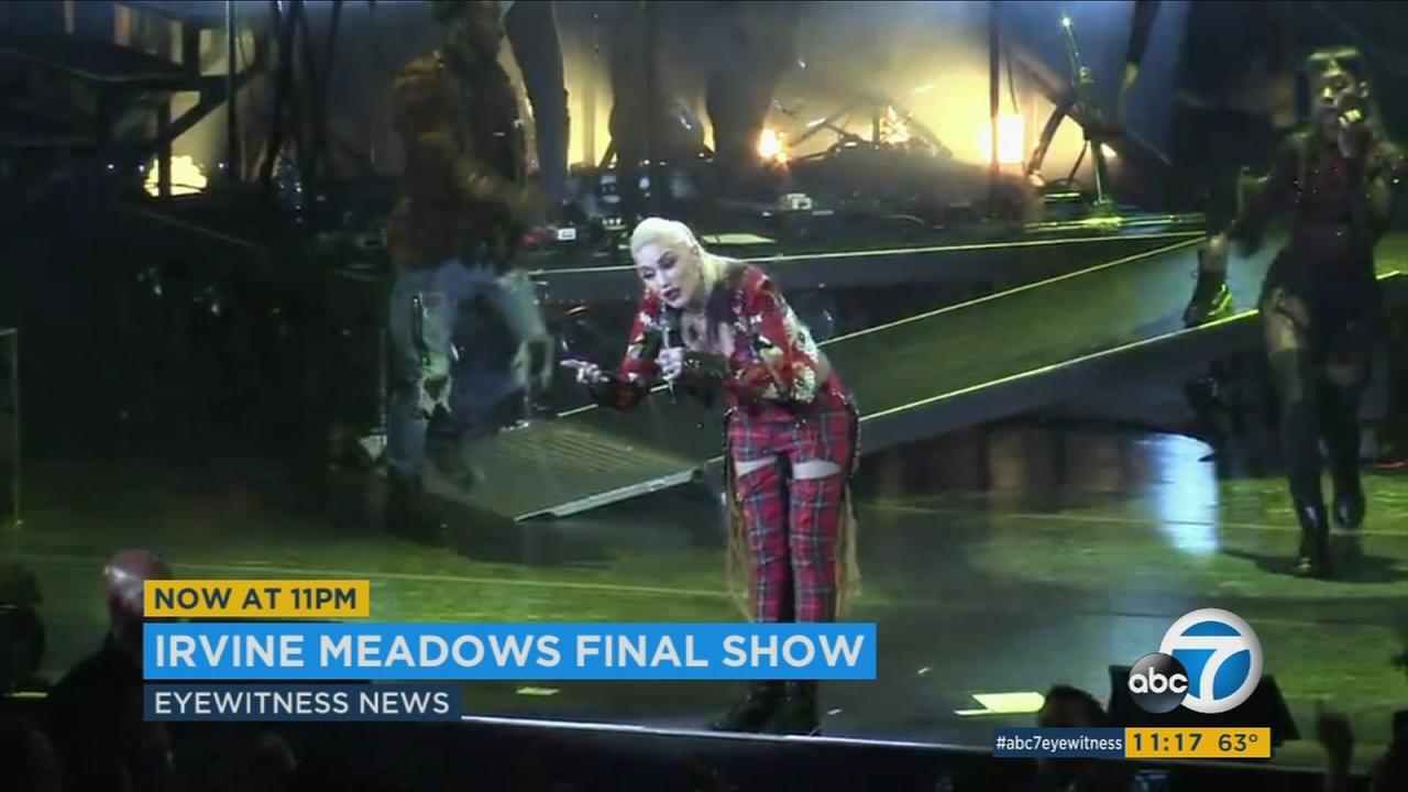 Orange County native Gwen Stefani helped close down the Irvine Meadows Amphitheater with a final concert.
