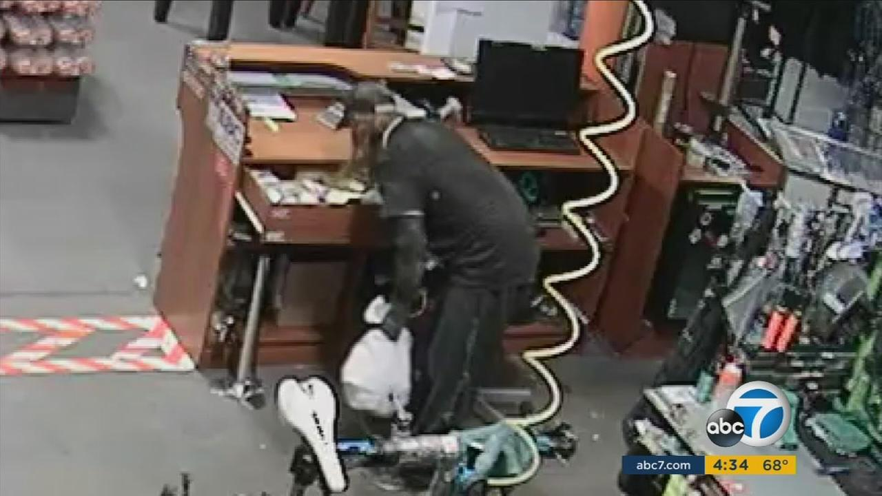 A thief broke into a bicycle shop in Redlands by lowering himself from the roof using rope on Friday, Oct. 28, 2016, according to officials.