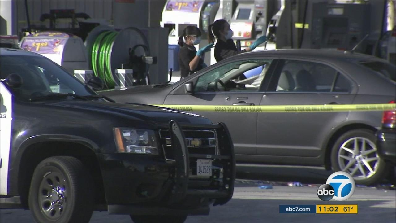 A female suspect died after ramming a police cruiser and being shot by officers in Torrance Monday afternoon, police said.