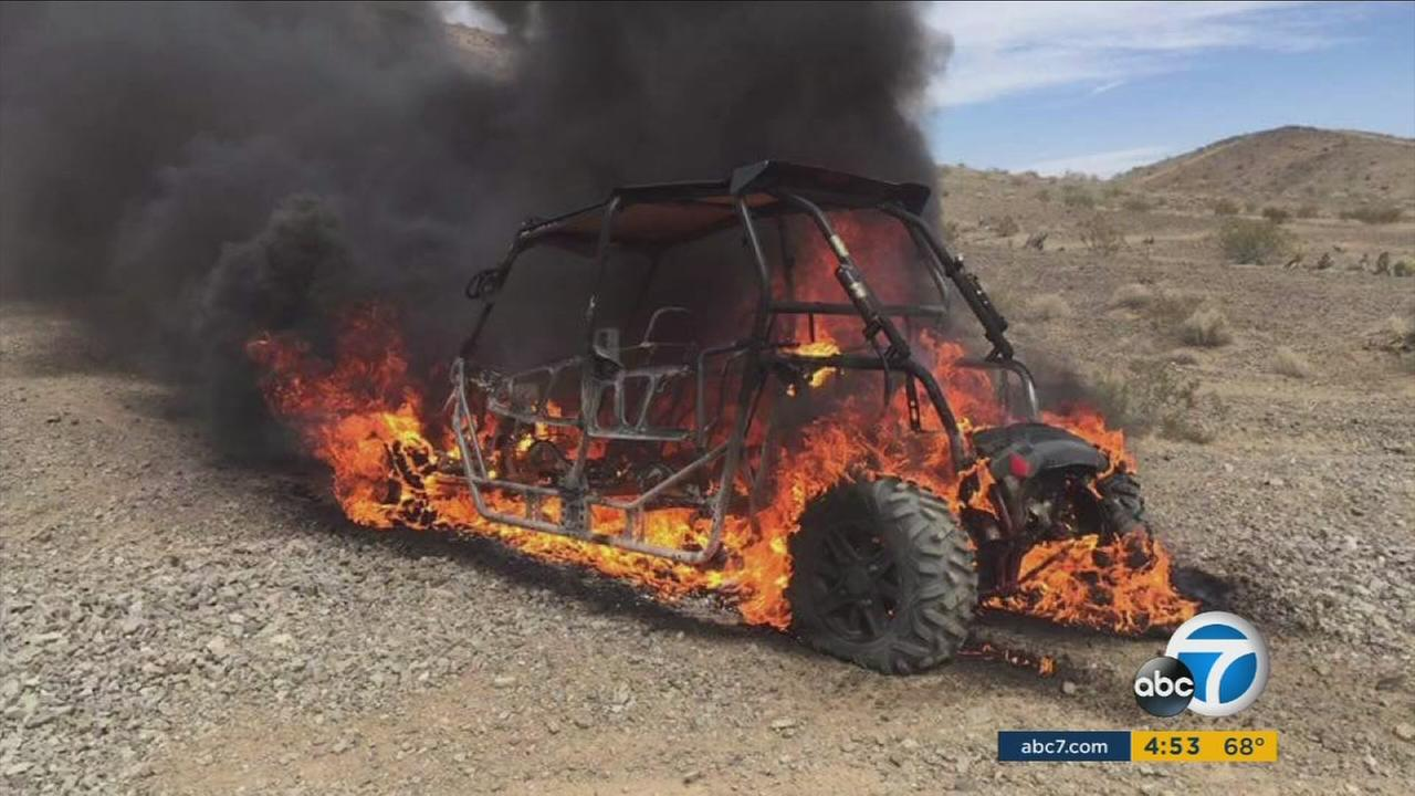 A Big Bear man is suing Polaris after he said an off-road vehicle burst into flames, severely injuring him.