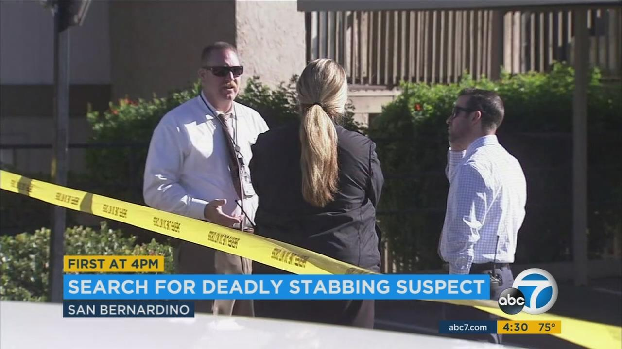 A man in his 50s was brutally stabbed early Wednesday near the parking lot of the Lido Apartments complex in San Bernardino, according to police.
