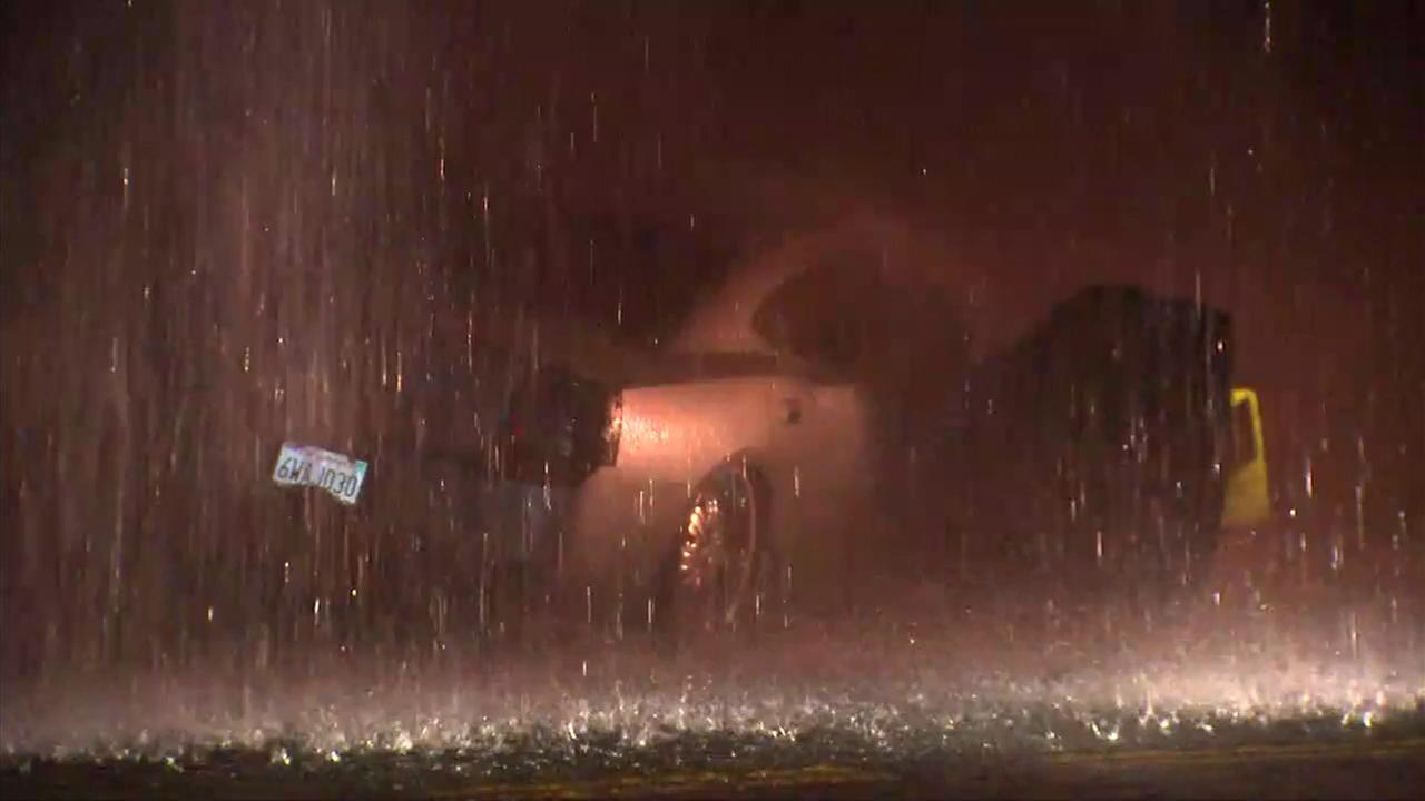 A car sheared a fire hydrant in El Sereno on Friday, Nov. 4, 2016.