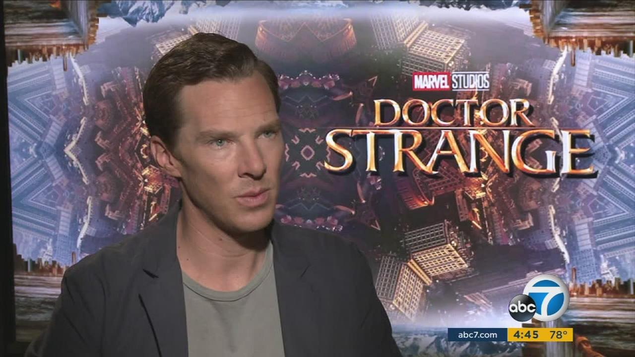 Benedict Cumberbatch is shown doing an interview for his new movie Marvels Doctor Strange.