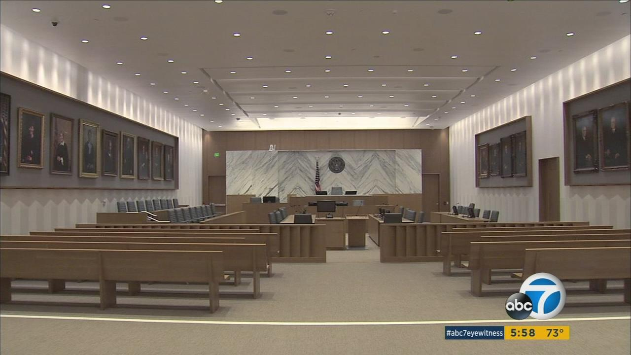 An advanced courthouse is constructed in downtown Los Angeles for $350 million.