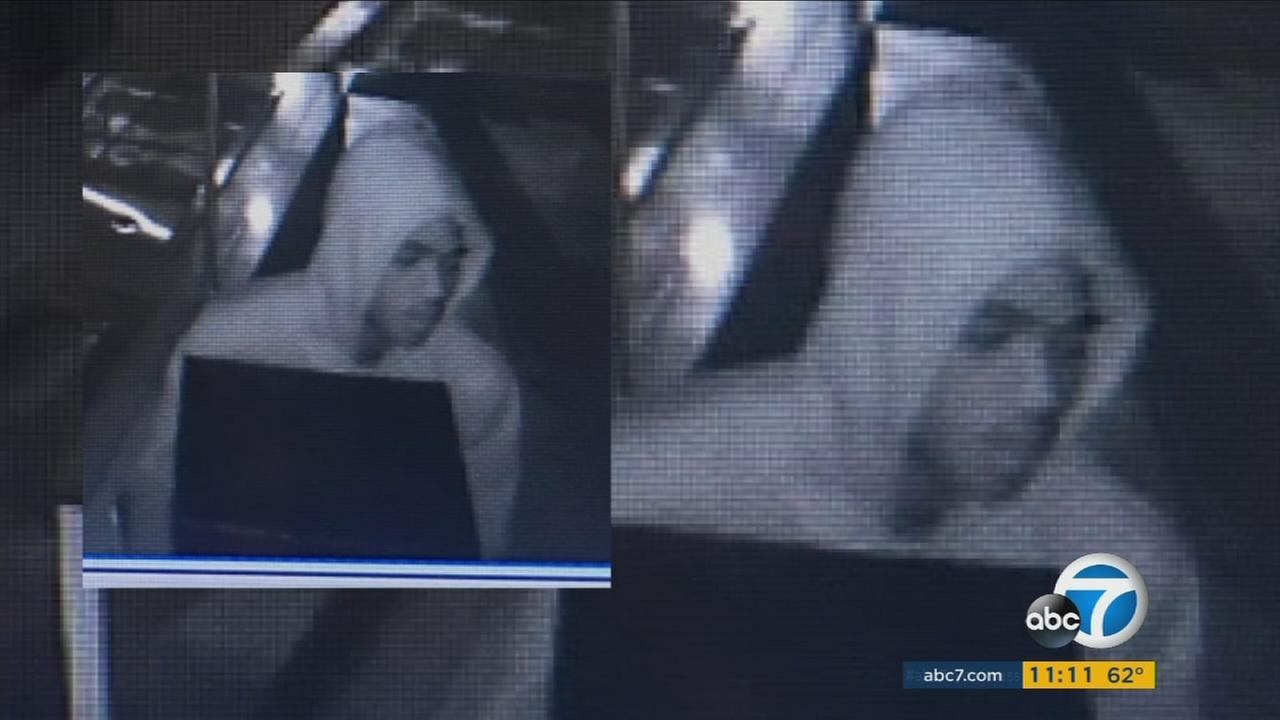 A suspect is caught on surveillance camera during a burglary at Fins Poke Fusion in Fullerton on Saturday, Nov. 4, 2016.