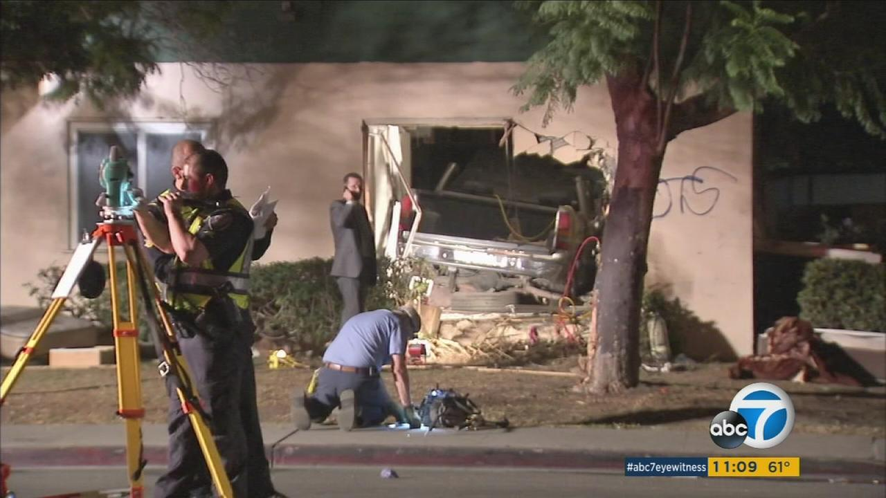 At least five people were injured after a car slammed into an apartment building in Oxnard, authorities said.