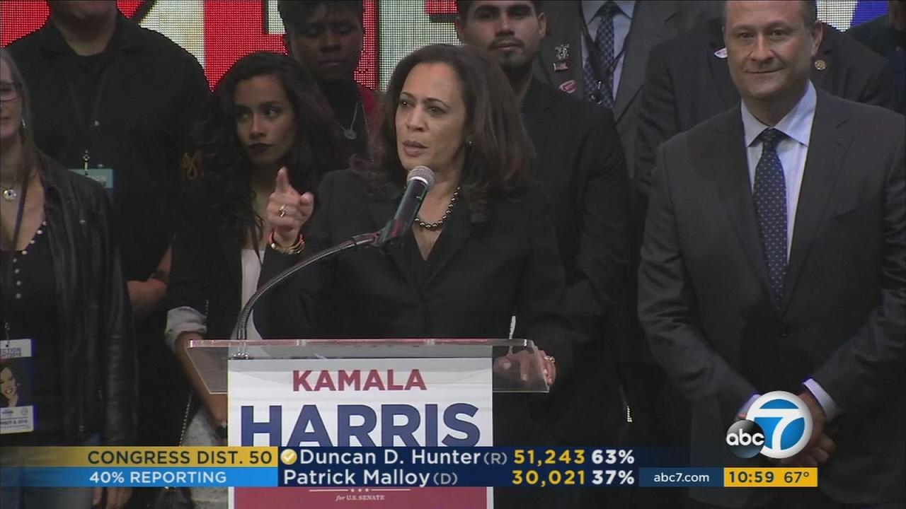 Attorney General Kamala Harris delivers her victory speech after beating out Congresswoman Loretta Sanchez for a U.S. Senate seat.