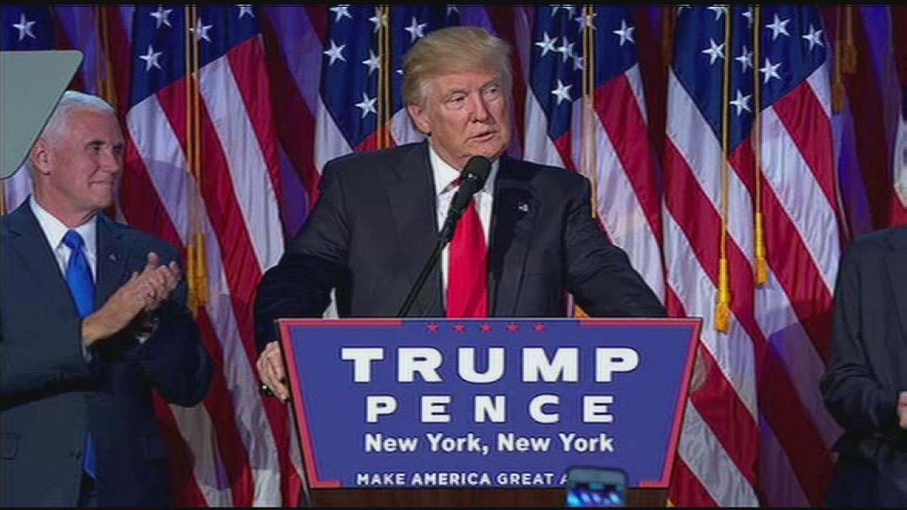 Donald J. Trump delivers his victory speech on Election Night, Tuesday, Nov. 9, 2016 in New York City.