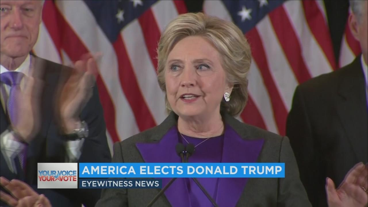 A day after Donald Trump won the election as Americas 45th president, Hillary Clinton urged unity and told her supporters, We owe him an open mind and a chance to lead.