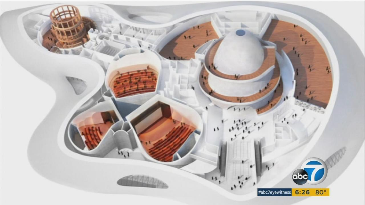 A model of George Lucas proposed Museum of Narrative Art.