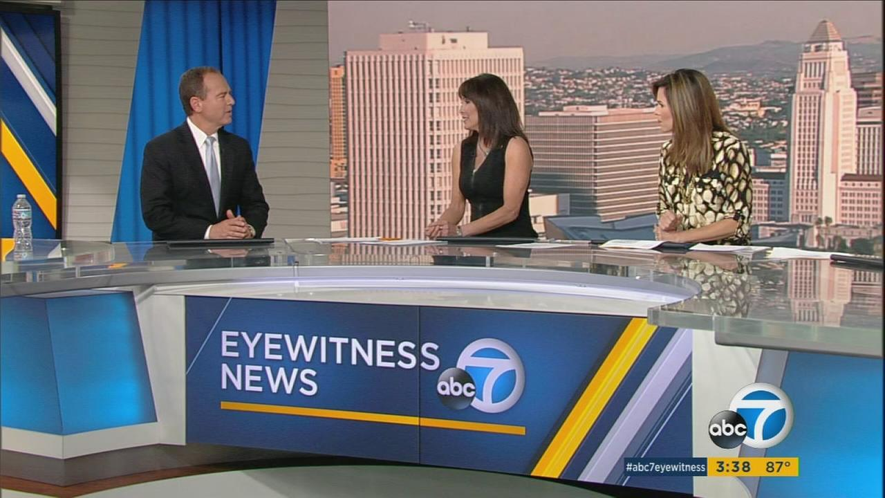Congressman Adam Schiff is shown speaking with anchors Ellen Leyva and Coleen Sullivan on the ABC7 set on Thursday, Nov. 10, 2016.