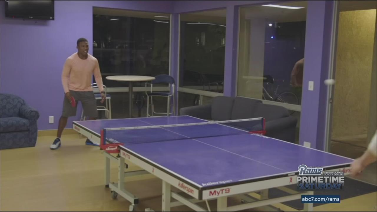 Rams player Pharoh Cooper schools fellow rookie Jared Goff in pingpong.