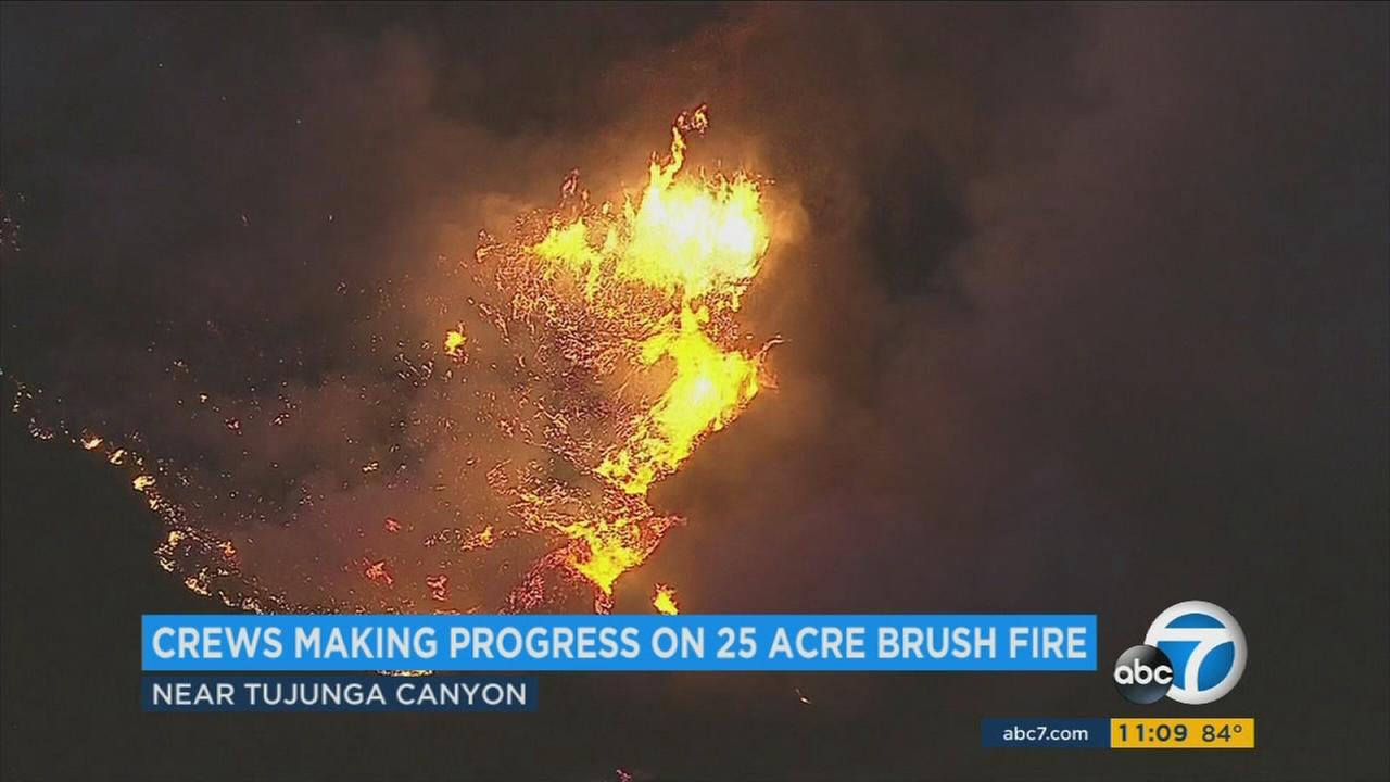 A fast-moving brush fire erupted in the Angeles National Forest above Lake View Terrace on Monday, Nov. 14, 2016.