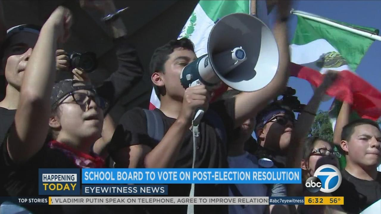 Los Angeles Unified School District students call for action from local officials to protect them from future immigration policies on Monday, Nov. 14, 2016.