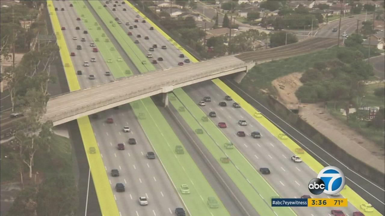 A $1.2 billion project has been awarded to add regular and express lanes to a 16-mile stretch of the 405 Freeway in Orange County.