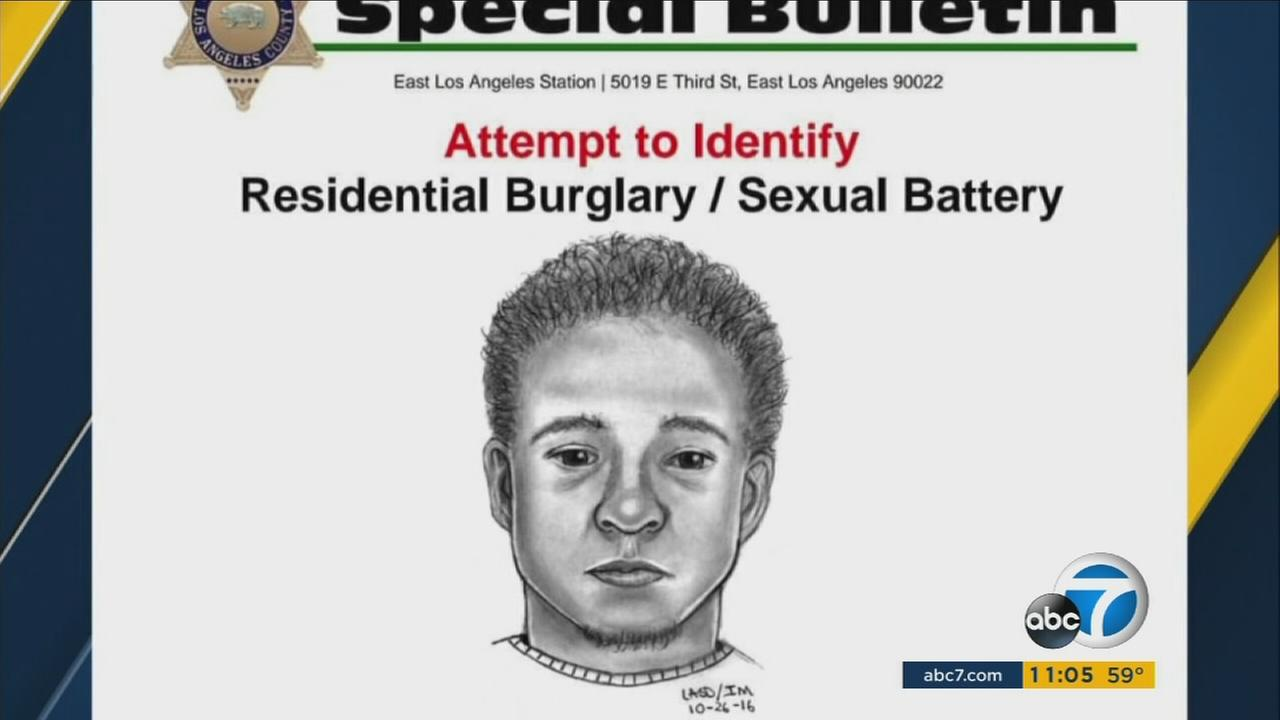 A sketch of a suspect possibly linked to several home invasions and sexual assaults in a Maywood neighborhood is shown.