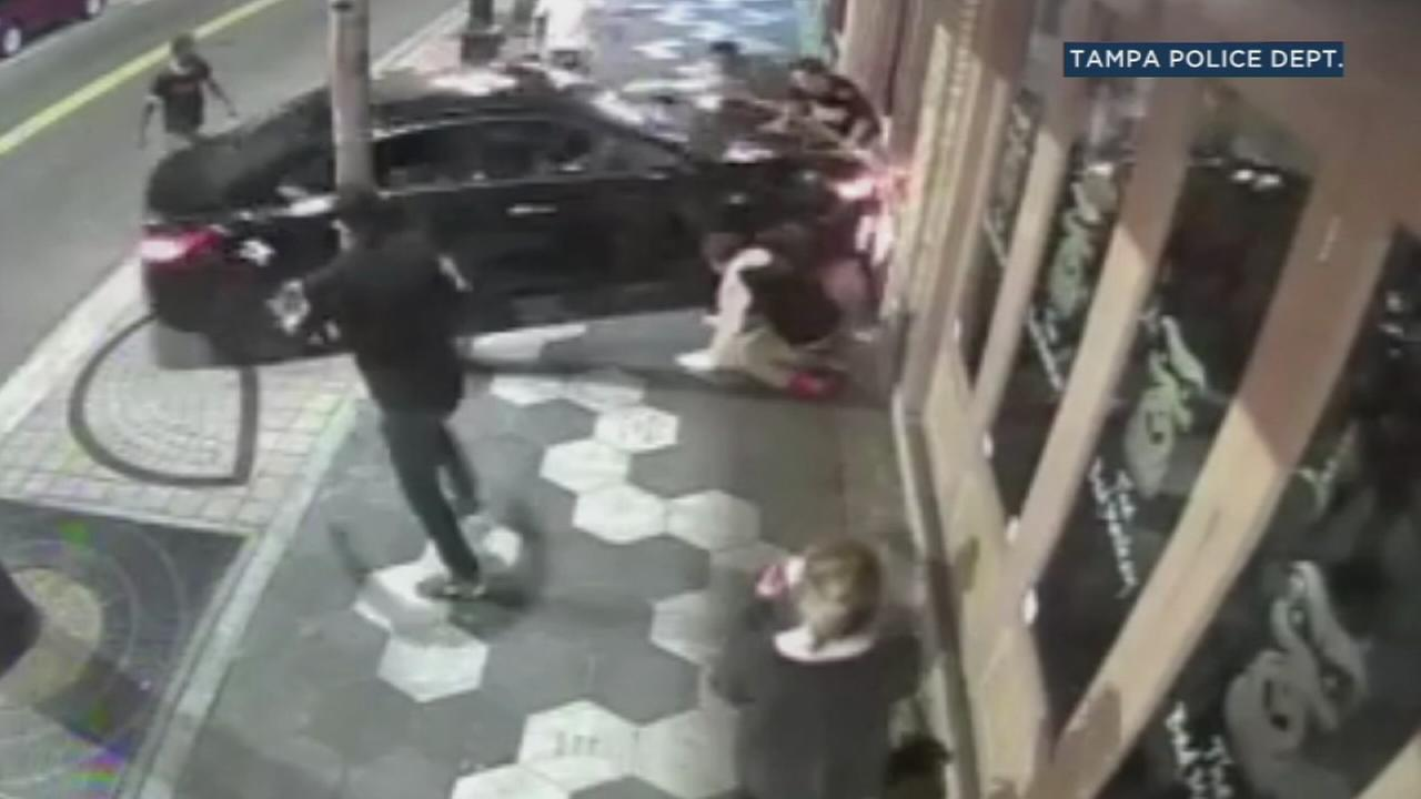 A bar fight in Tampa, Florida, ended with a car striking multiple men in the melee and crashing into a building.