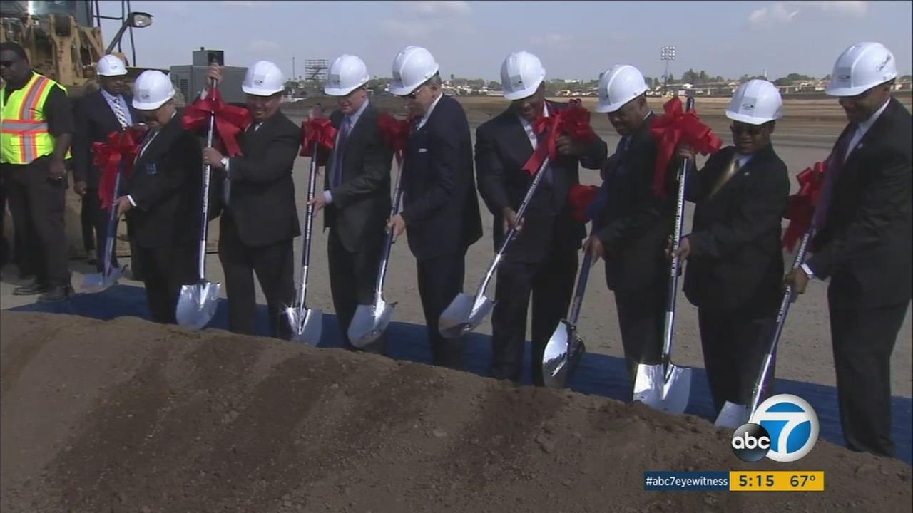 Officiants broke ground at the site of the Los Angeles Rams Inglewood stadium on Thursday, Nov. 17, 2016.