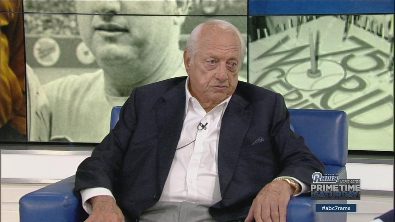 Los Angeles Dodgers legend Tommy Lasorda is shown during Rams Primetime Saturday on Saturday, Nov. 19, 2016.