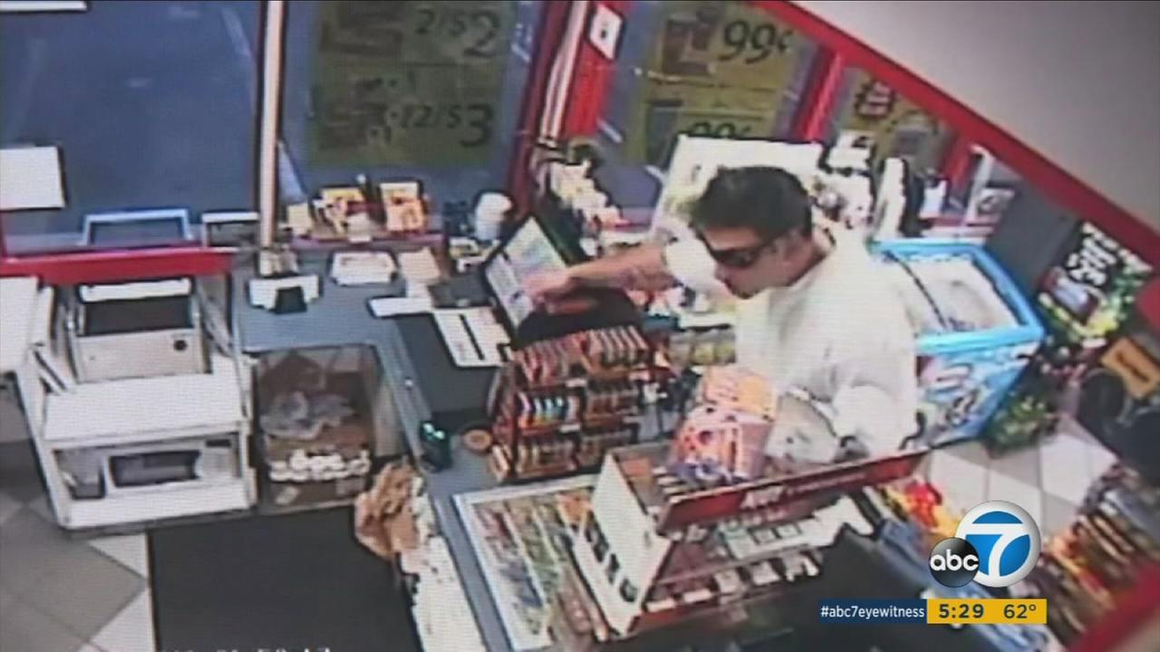 A man threatened and chased a defenseless 76 gas station clerk before stealing an entire cash register.