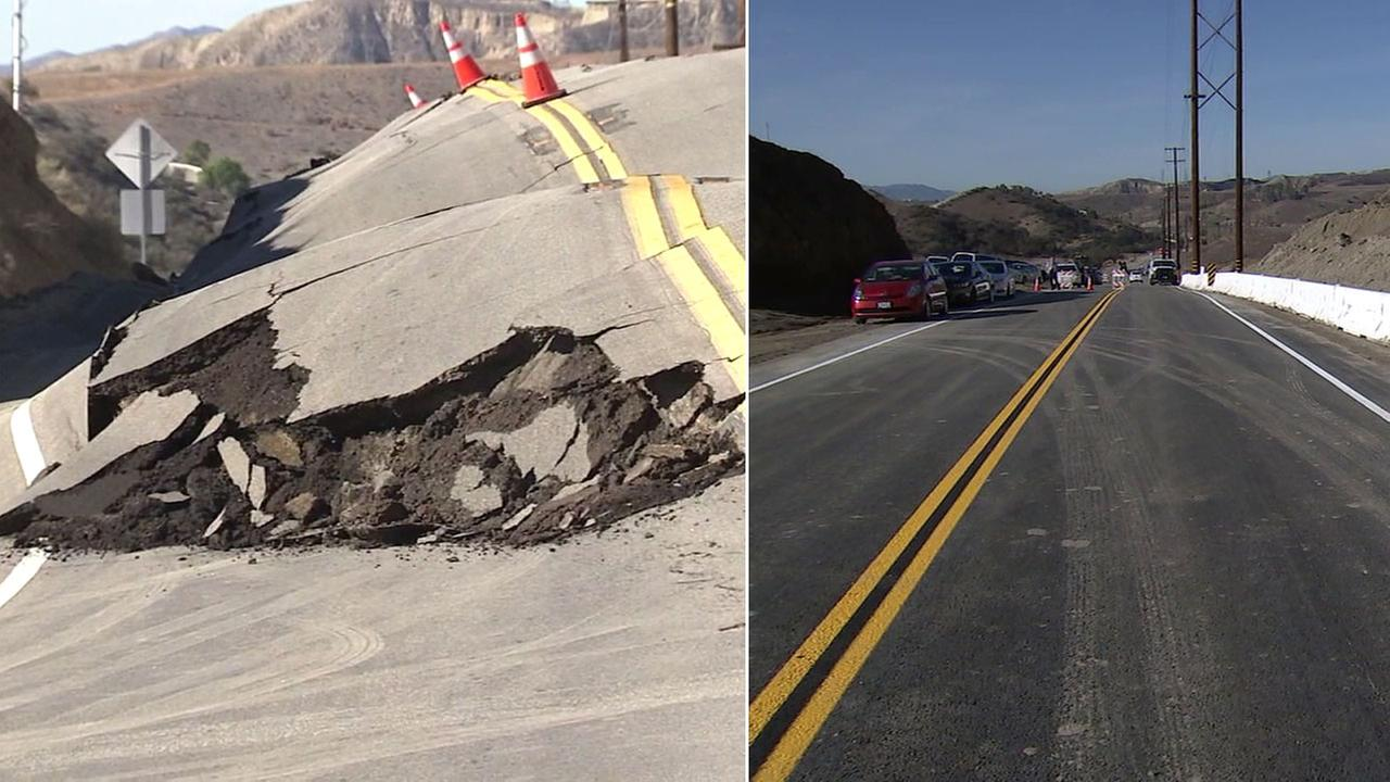 A 400-foot stretch of Vasquez Canyon Road is shown in 2015 when it was damaged and in November 2016 when it was repaired.