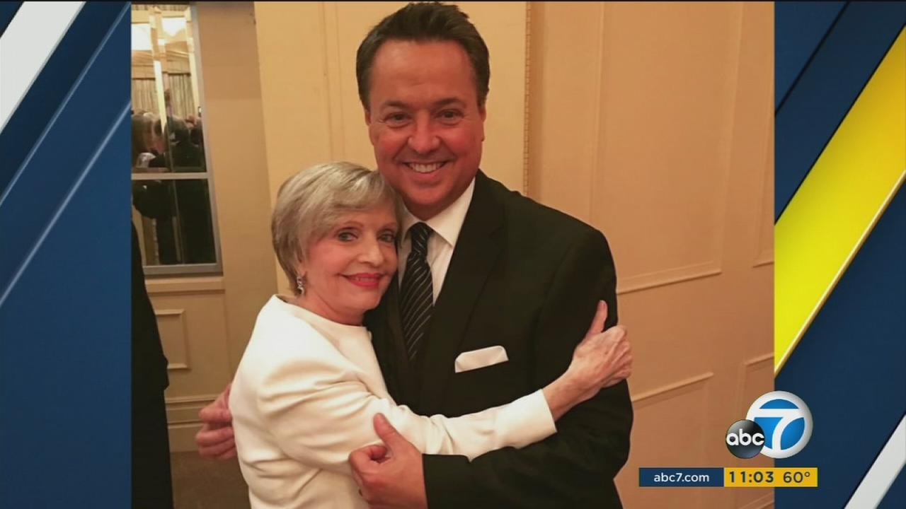 Florence Henderson, 82, is shown alongside ABC7 Entertainment Guru George Pennacchio in a photo.