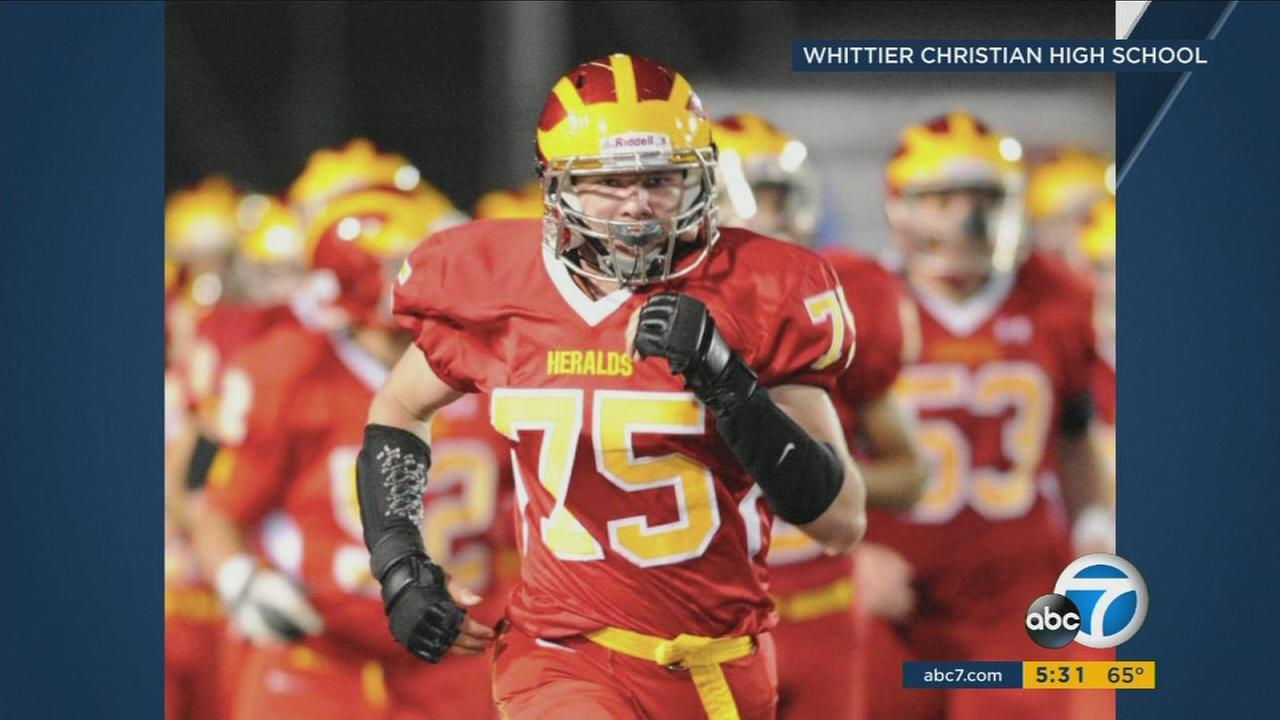 Ethan Hawks, 17, is seen playing for Whittier Christian High School football team.