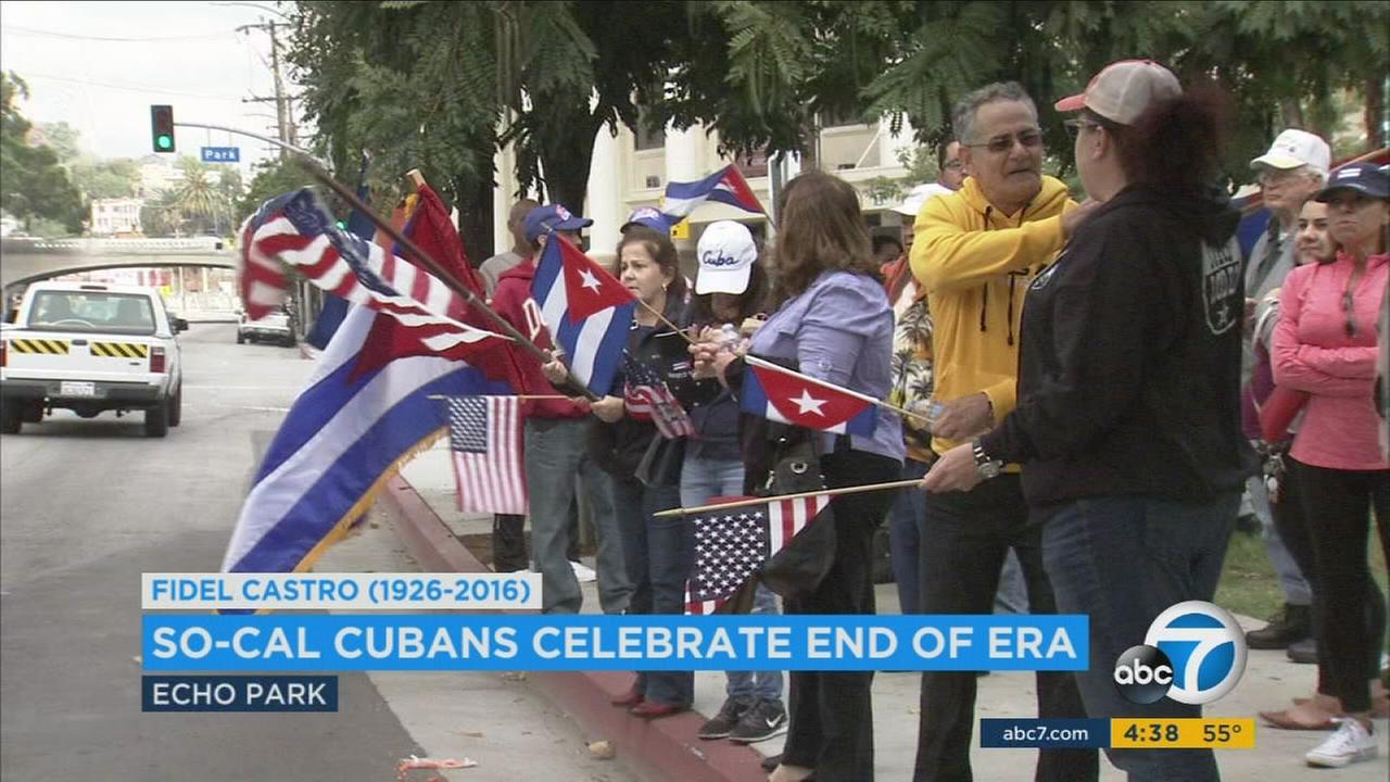 Cubans celebrated Fidel Castros death in Echo Park and shared hope for a free Cuba.