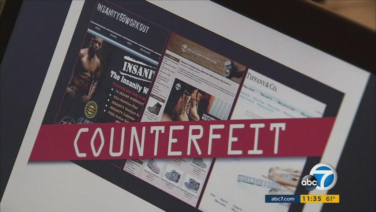 An undated photo of counterfeit items being sold online.