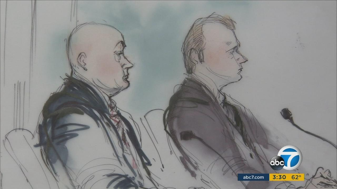 A Nov. 28, 2016, sketch of deputies Bryan Brunsting and Jason Branum, who were convicted of beating a mentally-ill inmate and attempting to cover it up.