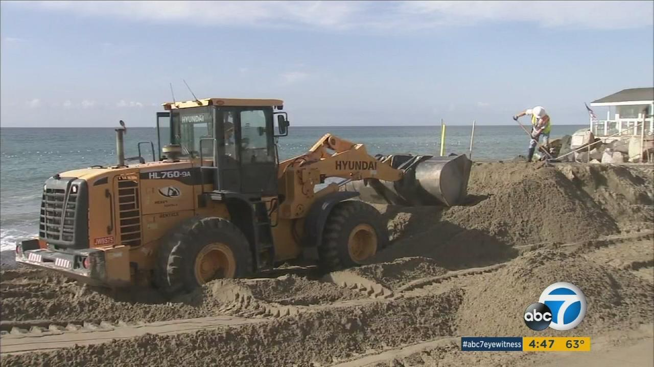 Truckloads of sand have been brought to San Clementes North Beach in an effort to offset the effects of erosion.