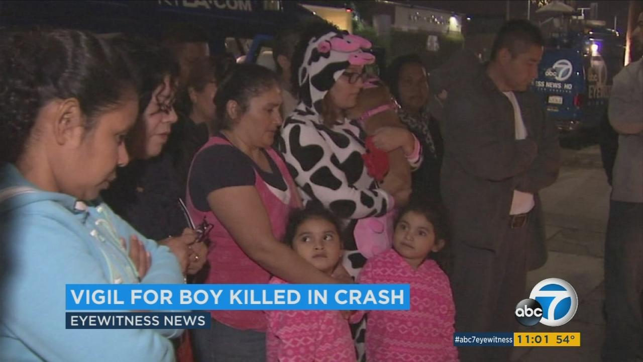 A vigil was held for a 4-year-old boy who died when a suspected drunk driver crashed into his South Los Angeles apartment.