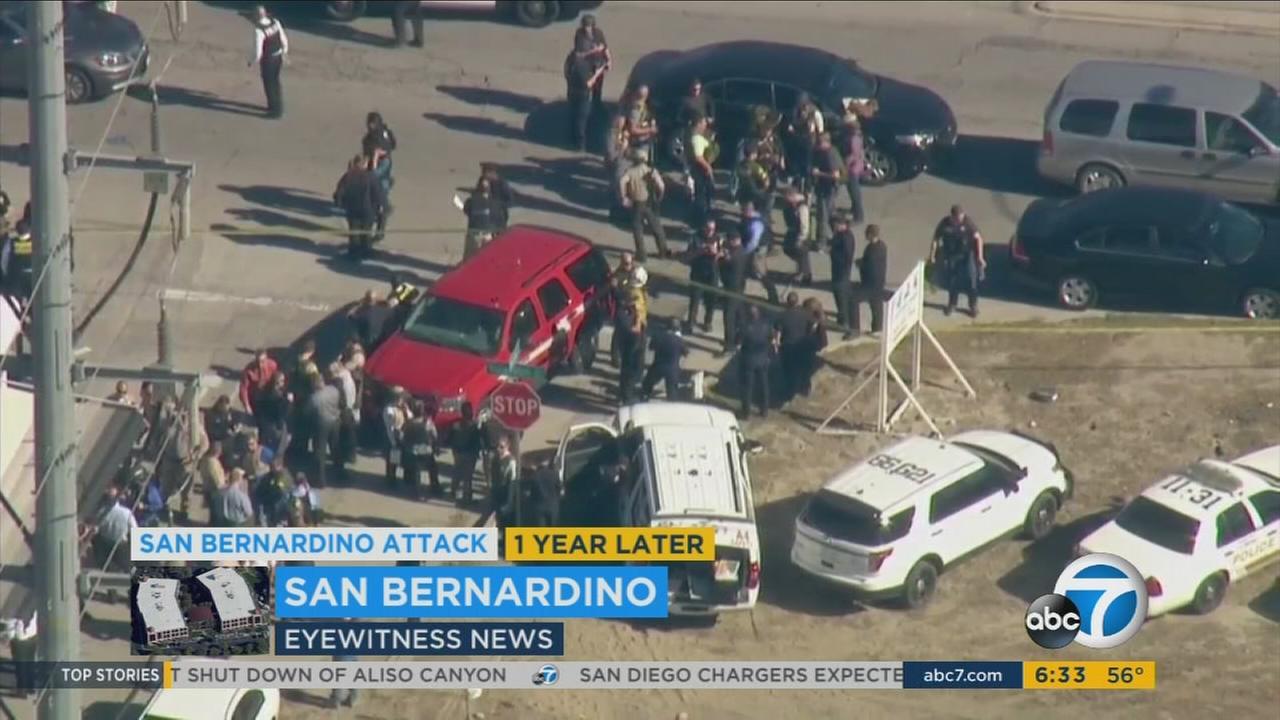 The scene of the San Bernardino terror attack outside the Inland Regional Center in San Bernardino on Dec. 2, 2015.