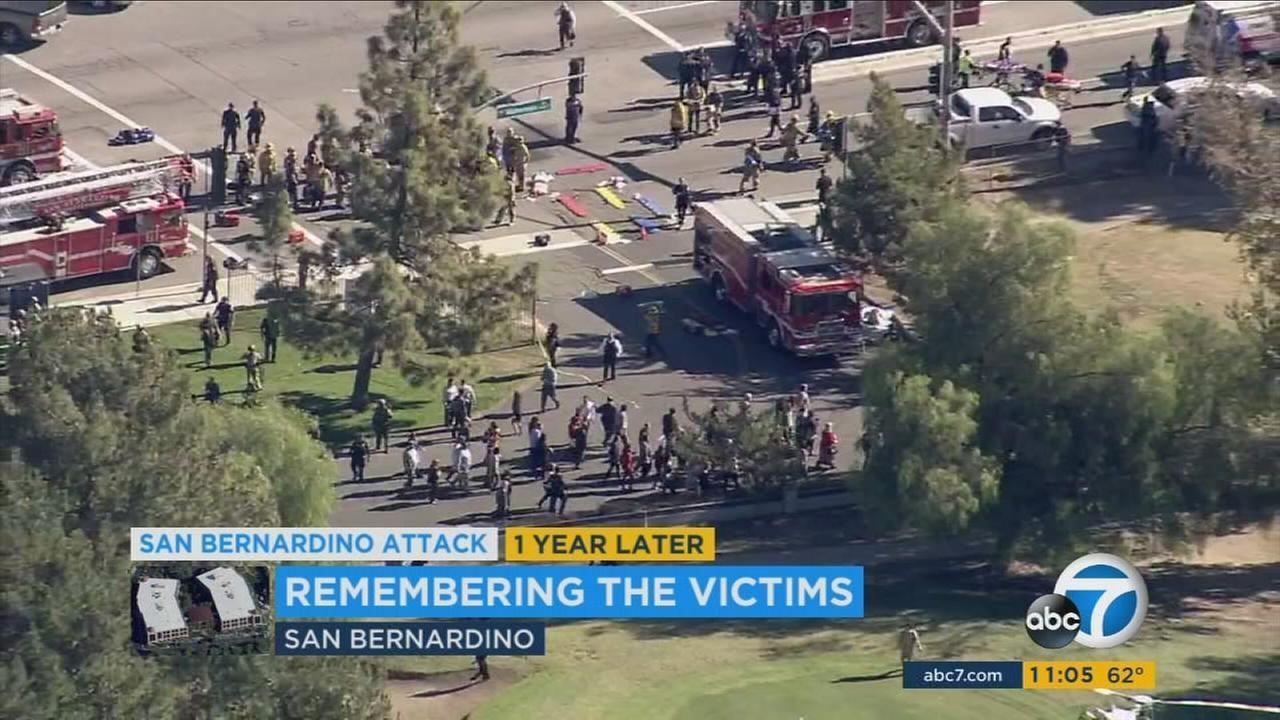 The scene of the San Bernardino terror attack outside the Inland Regional Center in San Bernardino on Dec. 2, 2015.